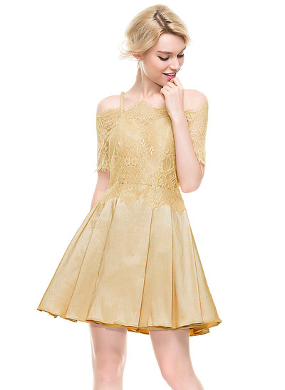 A-Line/Princess Sweetheart Short/Mini Taffeta Homecoming Dress