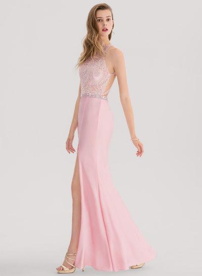 Trompete/Sereia Decote redondo Longos Jersey Vestido de baile com Beading Frente aberta
