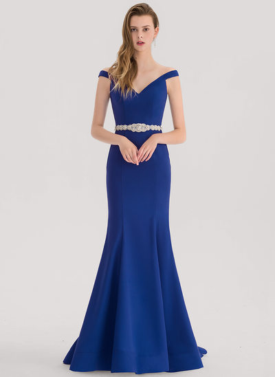Trumpet/Mermaid Off-the-Shoulder Sweep Train Satin Prom Dress With Beading