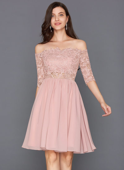 A-Line/Princess Off-the-Shoulder Knee-Length Chiffon Homecoming Dress