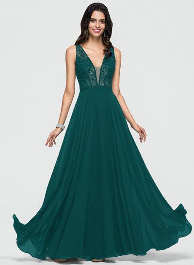 Corte A Decote V Longos Tecido de seda Vestido de baile com Beading lantejoulas
