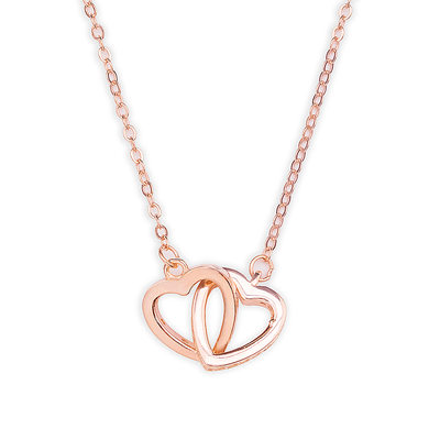 18k Rose Gold Plated Silver Heart Necklace - Valentines Gifts