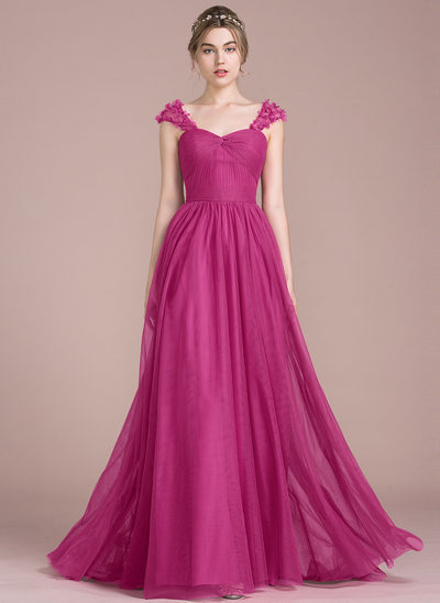 Forme Princesse Amoureux Balayage/Pinceau train Tulle Robe bal d'étudiant avec Plissé Fleur(s)