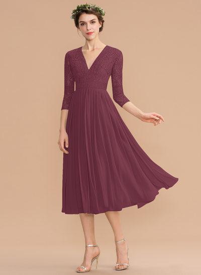 A-Line V-neck Tea-Length Chiffon Lace Bridesmaid Dress With Pleated