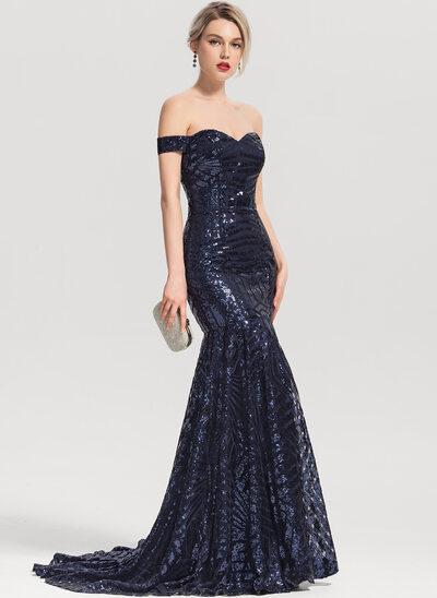 Mořská panna Off-the-rameno Dlouhá vlečka Sequined Večerní šaty