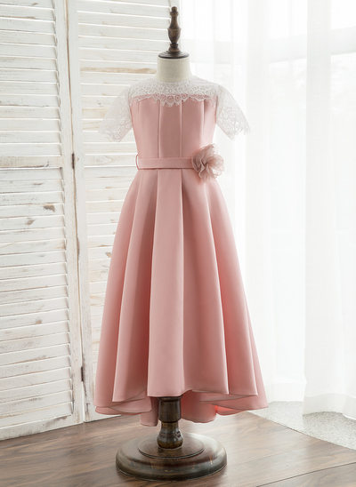 A-Line/Princess Asymmetrical Flower Girl Dress - Satin/Lace Short Sleeves Scoop Neck With Flower(s)