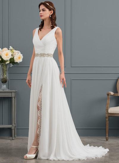 A-linjeformat V-ringning Sweep släp Chiffong Bröllopsklänning med Rufsar Spets Beading Slits Fram