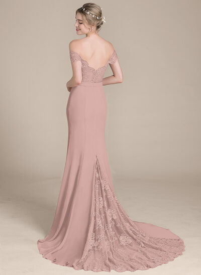 Trumpet/Mermaid Off-the-Shoulder Court Train Chiffon Lace Evening Dress