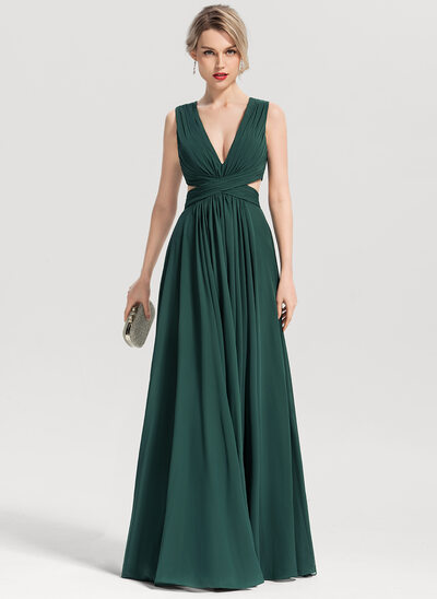 A-Line/Princess V-neck Floor-Length Chiffon Evening Dress
