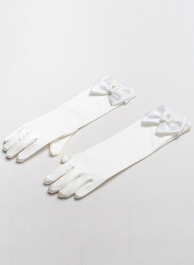 Satin With Imitation Pearls Wrist Length Glove