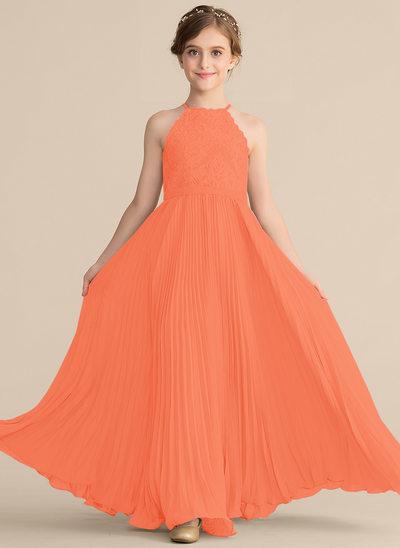 Corte A Decote redondo Longos Tecido de seda Renda Vestido de daminha júnior com Plissada