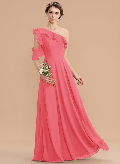 A-Line One-Shoulder Floor-Length Chiffon Bridesmaid Dress With Cascading Ruffles
