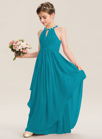 Corte A Decote redondo Longos Tecido de seda Vestido de daminha júnior com Pregueado Beading