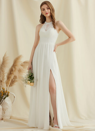 A-Line Scoop Neck Floor-Length Chiffon Lace Wedding Dress With Split Front