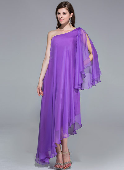 A-linje One-Shoulder Asymmetrisk Chiffon Aftenkjole