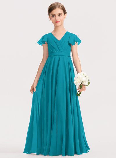 A-Line V-neck Floor-Length Chiffon Junior Bridesmaid Dress With Bow(s) Cascading Ruffles