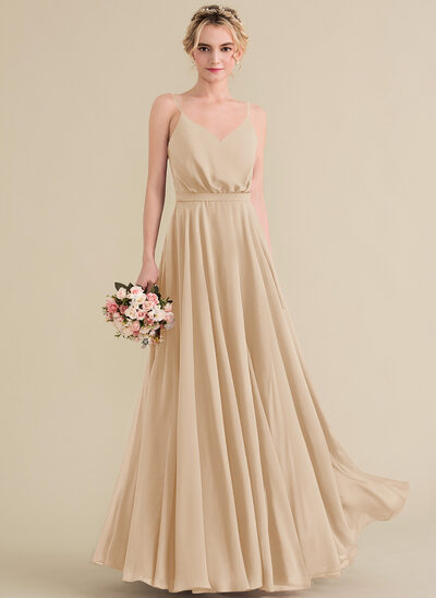 Vestidos princesa/ Formato A Decote V Longos Tecido de seda Vestido de baile com Curvado
