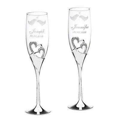 Groom Gaver - Personaliseret Elegant Legering Glas Champagne Fløjter (Sæt af 2)