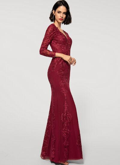 Платье-чехол V-образный Длина до пола шифон Кружева Вечерние Платье