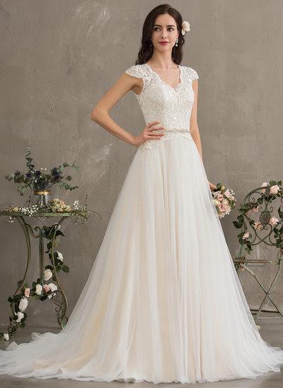 De Baile/Princesa Decote V Cauda de sereia Tule Vestido de noiva com Beading lantejoulas