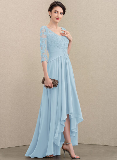 A-Line V-neck Asymmetrical Chiffon Lace Mother of the Bride Dress With Sequins