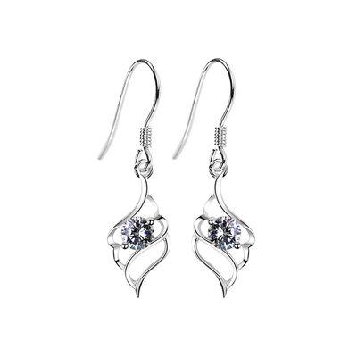 Sonar Naisten Tyylikäs 925 sterlinghopea hopea jossa Diamond Kuutiometriä zirkonia Korvakoruja Ystävät/Morsiusneito