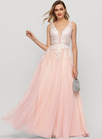 A-Line V-neck Floor-Length Tulle Prom Dresses