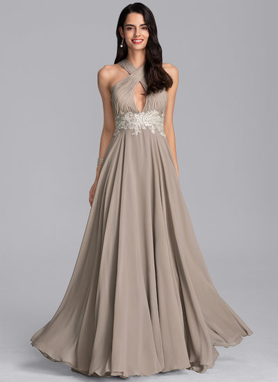 A-Line V-neck Floor-Length Chiffon Evening Dress With Lace