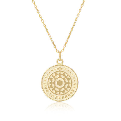 18k Gold Plated Silver Circle Pendant Necklace Discs & Circles