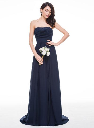 A-Line/Princess Sweetheart Sweep Train Chiffon Bridesmaid Dress With Ruffle Lace