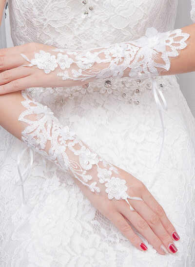 Kant/Breiwerk Elbow Lengte Bruids Handschoenen met Geborduurd