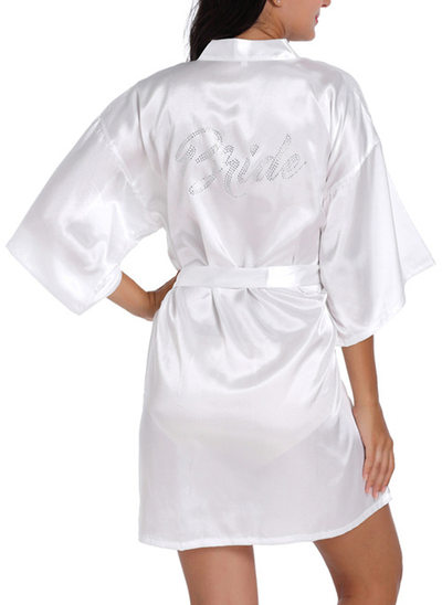 Satin Bride Bridesmaid Mom Rhinestone Robes