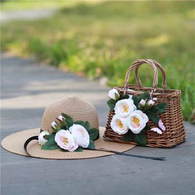 Bride Gifts - Delicate Straw Tote Bag Straw Hat