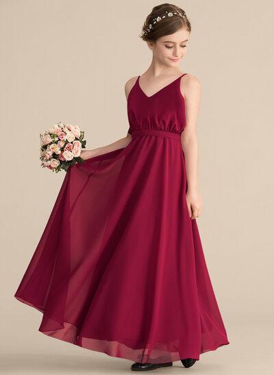 A-Line/Princess V-neck Floor-Length Chiffon Junior Bridesmaid Dress With Bow(s)