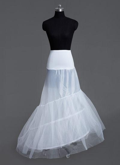 Women Tulle Netting/Lycra Court Train 3 Tiers Petticoats