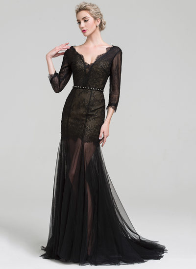 Trumpet/Mermaid V-neck Sweep Train Tulle Evening Dress With Beading