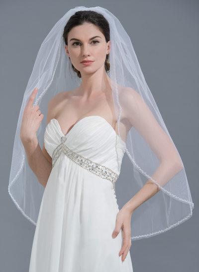 Uno capa Con abalorios Yema del dedo velos de novia con Cuentas