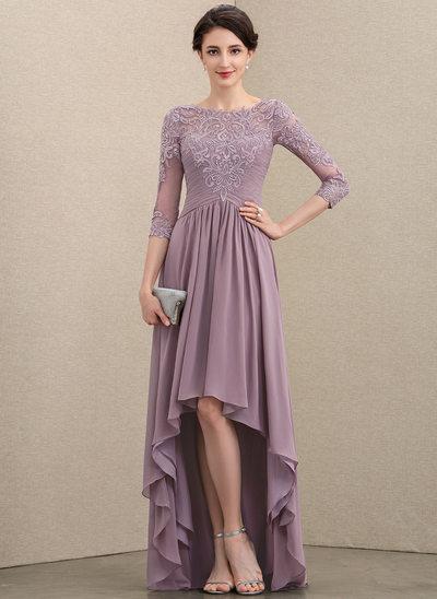 A-Linie U-Ausschnitt Asymmetrisch Chiffon Spitze Kleid für die Brautmutter mit Rüschen