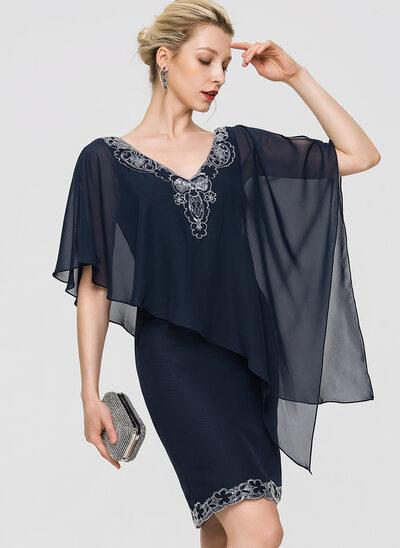 Платье-чехол V-образный Длина до колен шифон Коктейльные Платье с блестки