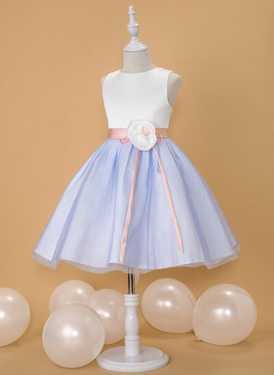 Ball-Gown/Princess Knee-length Flower Girl Dress - Satin/Tulle Sleeveless Scoop Neck With Flower(s) (Detachable sash)