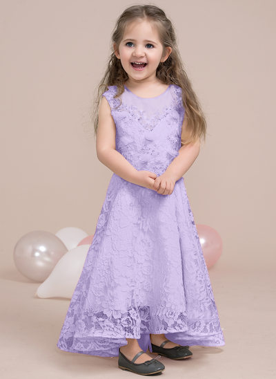 A-Line Scoop Neck Asymmetrical Lace Junior Bridesmaid Dress With Beading Flower(s) Sequins