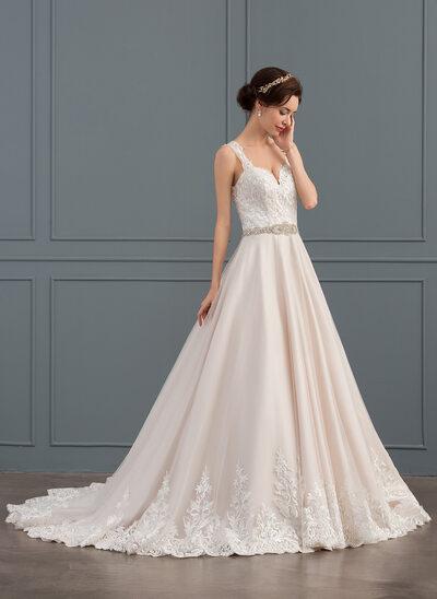 De baile Amada Cauda de sereia Tule Renda Vestido de noiva com Beading