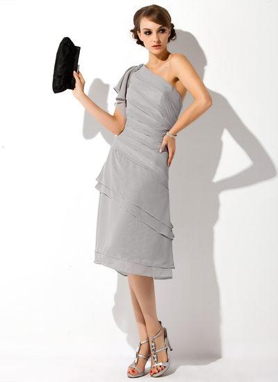 Çan/Prenses Tek-Omuzlu Diz Hizası Chiffon Gelin Annesi Elbisesi