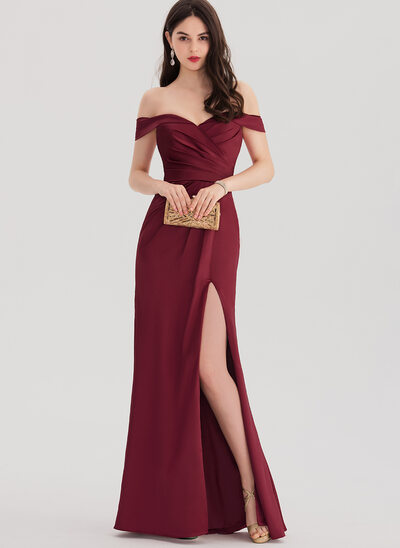 Pouzdro Off-the-rameno Délka na zem Satén Plesové šaty S Volán Rozdělit Přední