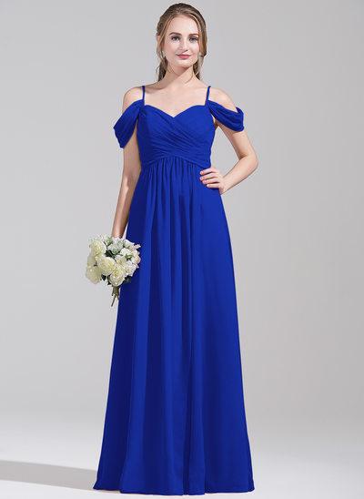 Çan/Prenses Off-Omuz Uzun Etekli Şifon Mezuniyet Elbisesi Ile Büzgü