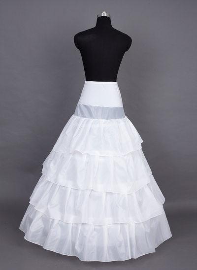 Women Nylon/Satin Floor-length 4 Tiers Petticoats