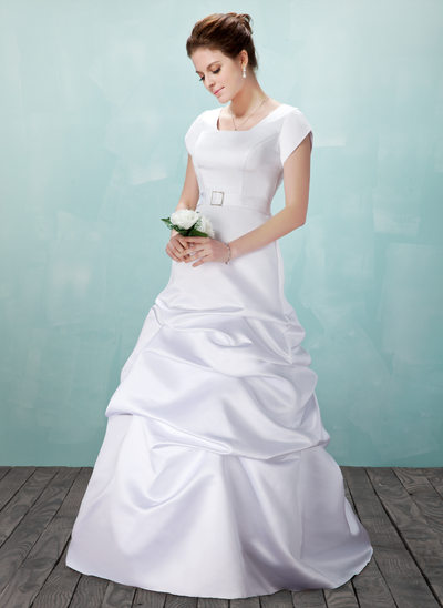 A-Line/Princess Square Neckline Floor-Length Satin Wedding Dress With Ruffle Crystal Brooch