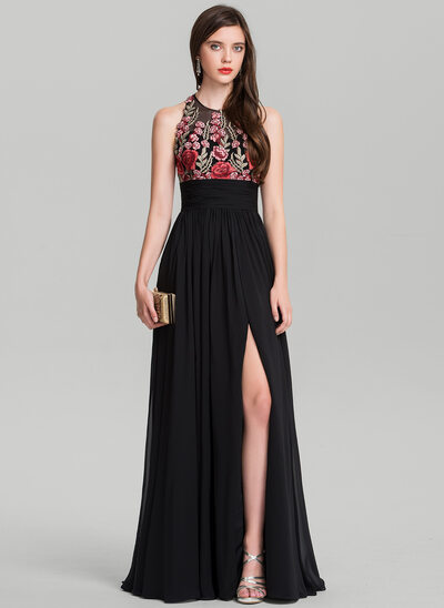 A-Line/Princess Scoop Neck Floor-Length Chiffon Prom Dress With Ruffle Split Front