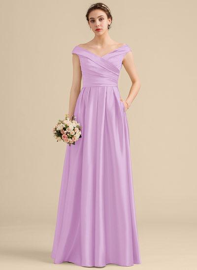 A-Line/Princess Off-the-Shoulder Floor-Length Satin Bridesmaid Dress With Ruffle Pockets