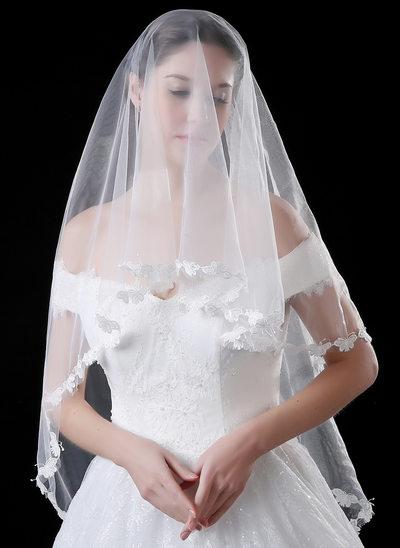 1 couche Bord en dentelle Voiles de mariée valse avec Dentelle